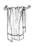 Нарисованное рукой полотенце ванны Линия искусство иллюстрация штока