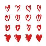 Нарисованное рукой сердце краски Фиолетовая и белая романтичная карточка Абстрактный чертеж щетки иллюстрация искусства вектора g Стоковое Изображение RF