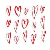 Нарисованное рукой сердце краски Фиолетовая и белая романтичная карточка Абстрактный чертеж щетки иллюстрация искусства вектора g Стоковое Фото