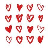 Нарисованное рукой сердце краски Фиолетовая и белая романтичная карточка Абстрактный чертеж щетки иллюстрация искусства вектора g Стоковые Фото