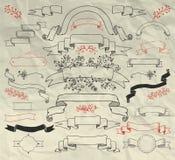 Нарисованное рукой собрание лент Doodle на скомканный Стоковое Изображение RF