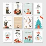 Нарисованное рукой собрание карточек шаржа времени потехи конспекта вектора с Рождеством Христовым установило с милыми иллюстраци Стоковое фото RF