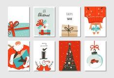 Нарисованное рукой собрание карточек шаржа времени потехи конспекта вектора с Рождеством Христовым установило с милыми иллюстраци Стоковые Изображения