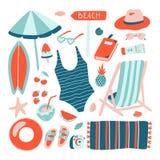 Нарисованное рукой собрание объекта пляжа лета Doodle тип Стоковое Изображение RF