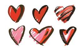 Нарисованное рукой собрание сердец Стоковая Фотография RF