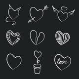 Нарисованное рукой собрание сердец мела Стоковая Фотография RF