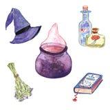 Нарисованное рукой собрание хеллоуина ведьмы акварели иллюстрация штока