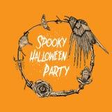 Нарисованное рукой illustrati дизайна рамки партии хеллоуина эскиза пугающее стоковые фото