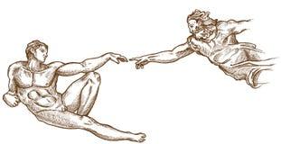 Нарисованное творение руки Адама бесплатная иллюстрация