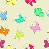 нарисованные бабочки вручают комплект вектор Стоковое Изображение