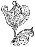 Нарисованные вручную абстрактные цветки Стоковое Изображение