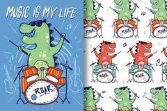 Нарисованные вручную барабанчики динозавра с editable картинами бесплатная иллюстрация