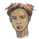Нарисованные вручную графики фасонируют портрет с красивой молодой женщиной, приглашая девушкой, верхней моделью Стоковое Изображение RF