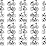 нарисованные вручную иллюстрации винтажные велосипеды Черно-белая открытка картина безшовная Стоковые Изображения