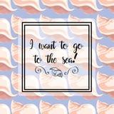 нарисованные вручную иллюстрации Отображайте с раковинами моря на голубой предпосылке Открытка, я хочу к морю картина безшовная Стоковое Изображение
