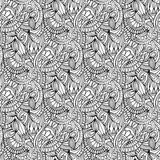 нарисованные вручную иллюстрации Черно-белая абстракция картина безшовная Стоковая Фотография