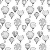 нарисованные вручную иллюстрации Черно-белые аэростаты картина безшовная Стоковые Фото