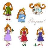 нарисованные вручную иллюстрации Я люблю принцесс Открытка с красными девушками в кронах картина безшовная Стоковое Фото