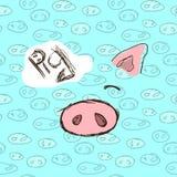 нарисованные вручную иллюстрации invitation new year Карточка зимы с рыльцем свиньи картина безшовная Стоковая Фотография