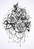 Нарисованные вручную красивые розы в линейном стиле Татуировка ART Картина Графический винтажный состав Изолированная иллюстрация иллюстрация вектора