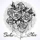 Нарисованные вручную красивые розы над мандалой, богато украшенной круглой картиной Татуировка ART Картина Графический винтажный  иллюстрация штока