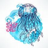 Нарисованные вручную медузы Стоковое фото RF