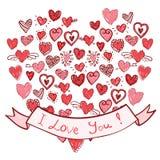 Нарисованные вручную сердца с лентой я тебя люблю Стоковое Изображение RF