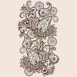 Нарисованные вручную цветки мандалы конспекта Mehndi хны и Doodle Пейсли Стоковое Изображение RF