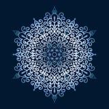 Нарисованные вручную doodles снежинка, металлический градиент цвета Стоковая Фотография RF