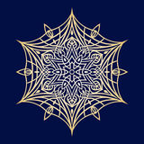 Нарисованные вручную doodles снежинка, металлический градиент цвета Стоковое Фото