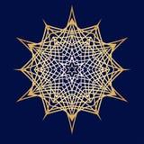Нарисованные вручную doodles снежинка, металлический градиент цвета Стоковая Фотография