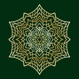Нарисованные вручную doodles снежинка, металлический градиент цвета Стоковые Фото