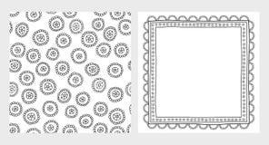Нарисованные рукой абстрактные шнурок и картина вектора Черно-белый дизайн иллюстрация штока