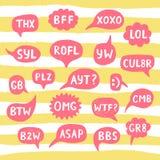 Нарисованные рукой акронимы интернета, аббревиатуры в пузырях болтовни бесплатная иллюстрация