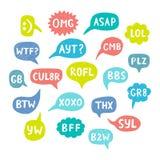 Нарисованные рукой акронимы интернета иллюстрация вектора