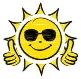Нарисованные рукой большие пальцы руки Солнца 2 вверх с солнечными очками желтыми и черными иллюстрация вектора