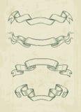 Нарисованные рукой винтажные элементы дизайна лент Стоковые Изображения