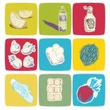 Нарисованные рукой значки еды вектора Иллюстрация штока