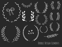 Нарисованные рукой изолированные элементы дизайна doodle Стоковое фото RF
