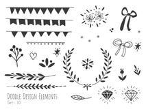 Нарисованные рукой изолированные элементы дизайна doodle Стоковые Фото