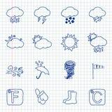Нарисованные рукой иконы погоды Стоковые Изображения RF