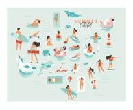 Нарисованные рукой иллюстрации собрания группы людей заплывания потехи временени шаржа конспекта вектора большие установили изоли иллюстрация штока