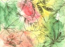Нарисованные рукой листья осени иллюстрация штока