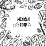 Нарисованные рукой иллюстрации вектора - мексиканская еда иллюстрация вектора