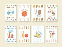 Нарисованные рукой карточки игр спорта doodle бесплатная иллюстрация