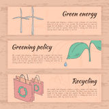 Нарисованные рукой карточки экологичности Стоковые Изображения