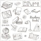 Нарисованные рукой книги doodle читая комплект Стоковое Изображение RF