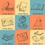 Нарисованные рукой книги doodle читая комплект Стоковые Фото