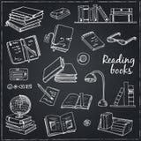 Нарисованные рукой книги doodle читая комплект Стоковая Фотография RF