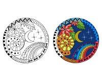 Нарисованные рукой мандалы круга ночи иллюстрация вектора